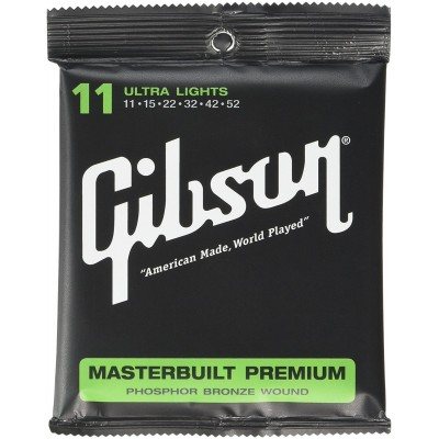 GIBSON GEAR MASTERBUILT PREMIUM ACOUSTIC STRINGS PHOSPHOR BRONZE ULTRA LIGHTS