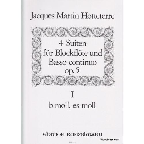 KUNZELMANN HOTTETERRE J.M. - 4 SUITEN FÜR BLOCKFLÖTE UND BASSO CONTINUO OP.5 VOL.1