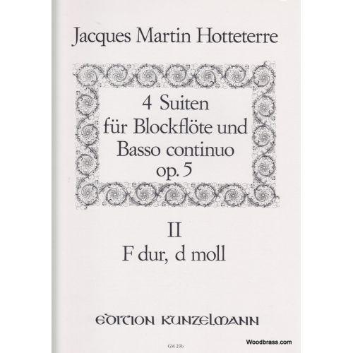 KUNZELMANN HOTTETERRE J.M - 4 SUITEN FÜR BLOCKFLÖTE UND BASSO CONTINUO OP.5 VOL.2