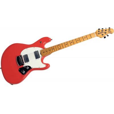 Music Man Stingray Guitar Hh Trem Coral Red Maple Parchment Chrome Woodbrass Com