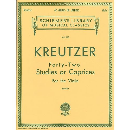 SCHIRMER RODOLPHE KREUTZER FORTY-TWO STUDIES OR CAPRICES - VIOLIN