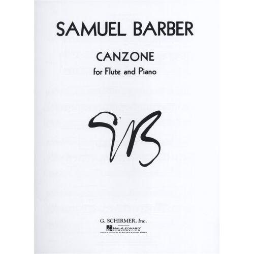 SCHIRMER SAMUEL BARBER CANZONE - FLUTE