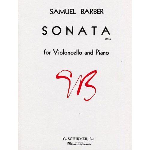 SCHIRMER BARBER S. - SONATA OP. 6 - VIOLONCELLE ET PIANO