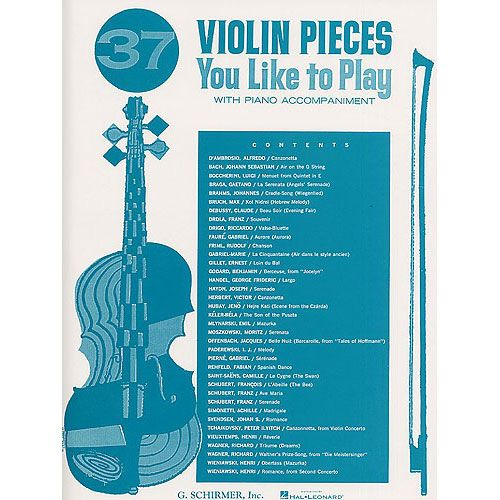 SCHIRMER 37 VIOLIN PIECES YOU LIKE TO PLAY