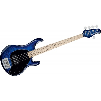 STERLING BY MUSIC MAN STINGRAY5 IN QUILTED MAPLE NEPTUNE BLUE, 5-STRING