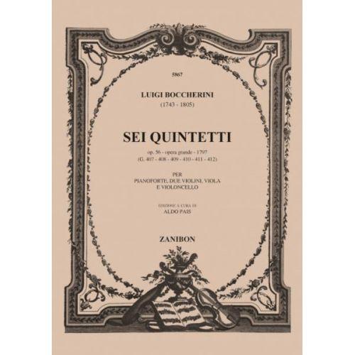 RICORDI BOCCHERINI L. - SEI QUINTETTI - 2 VIOLONS, ALTO, VIOLONCELLE ET PIANO