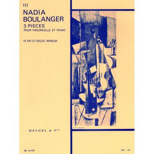 HEUGEL BOULANGER N. - 3 PIECES (N03 UT DIESE MINEUR) - VIOLONCELLE ET PIANO