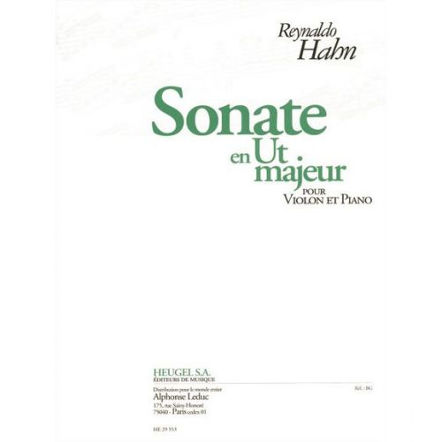 HEUGEL HAHN R. - SONATE EN UT MAJ. - VIOLON ET PIANO