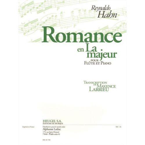HEUGEL PARTITION FLÛTE - HAHN REYNALDO - ROMANCE EN LA MAJEUR