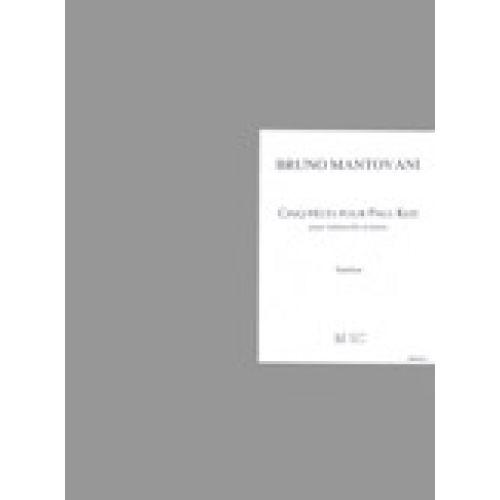 LEMOINE MANTOVANI BRUNO - PIECES POUR PAUL KLEE (5) - VIOLONCELLE, PIANO