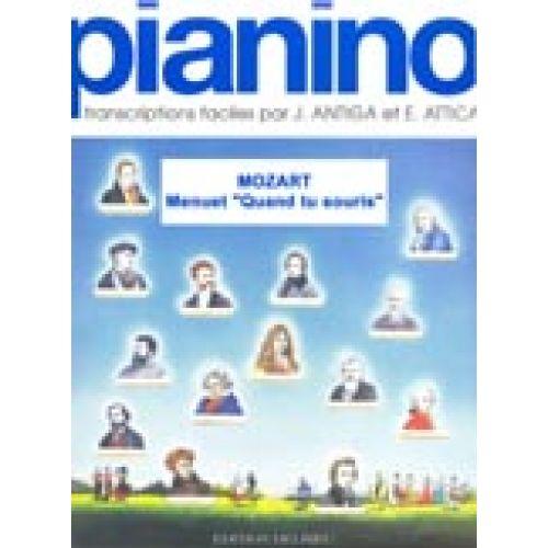 EDITION DELRIEU MOZART W.A. - MENUET QUAND TU SOURIS... - PIANINO 39 - PIANO