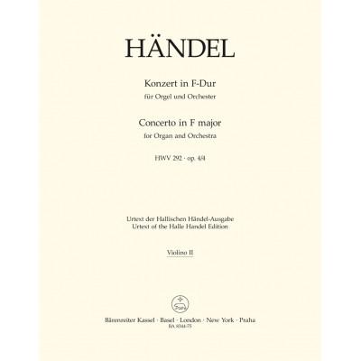 BARENREITER HAENDEL - KONZERT IN F-DUR (FA MAJEUR) ORGUE ET ORCHESTRE