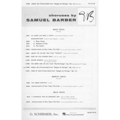 SCHIRMER BARBER S. - AGNUS DEI (ADAGIO FOR STRINGS) - CHOEUR SATB