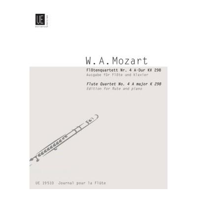 UNIVERSAL EDITION MOZART W.A. - FLOTENQUARTETT Nr.4 A-DUR KV 298 - FLUTE ET PIANO