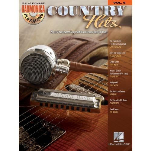 HAL LEONARD HARMONICA PLAY ALONG VOLUME 6 COUNTRY HITS HARM + CD - HARMONICA