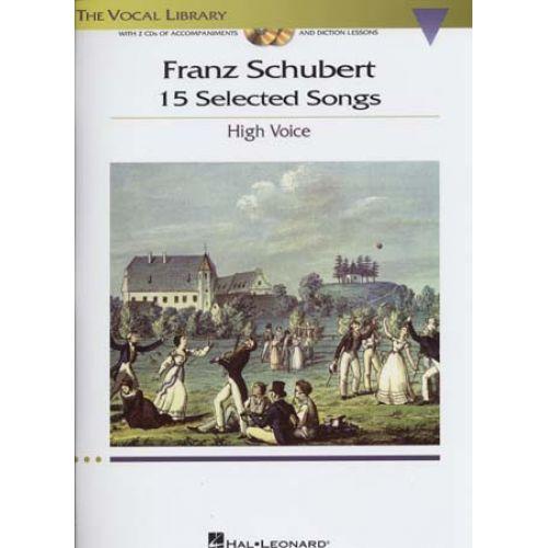 HAL LEONARD SCHUBERT - 15 SELECTED SONGS + 2 CD - PIANO, HIGH VOICE