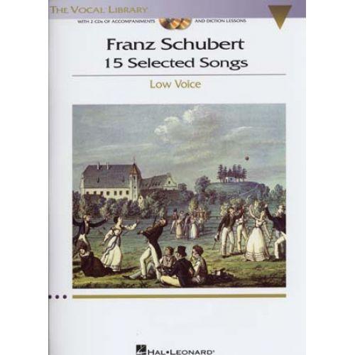 HAL LEONARD SCHUBERT - 15 SELECTED SONGS + 2 CD - PIANO, LOW VOICE