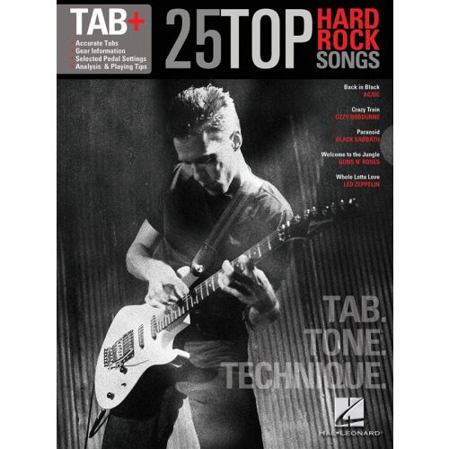 HAL LEONARD 25 TOP HARD ROCK SONGS TAB TONE TECHNIQUE GUITAR RECORDED VERSION - LYRICS AND CHORDS