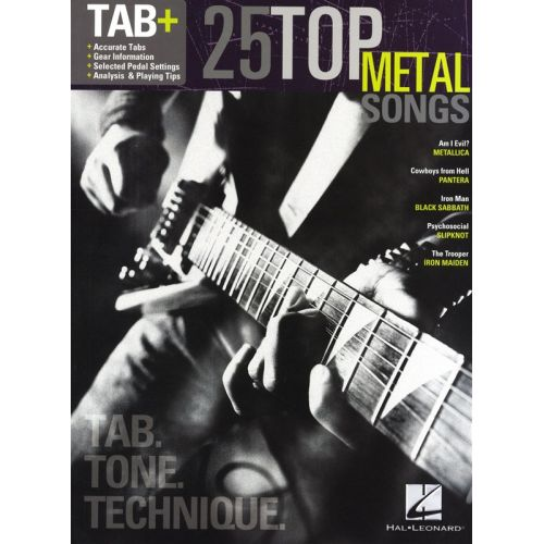 HAL LEONARD 25 TOP METAL SONGS TAB TONE TECHNIQUE REC VERS - GUITAR TAB