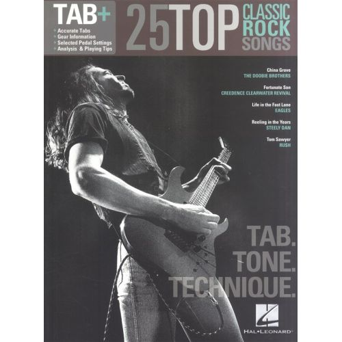 HAL LEONARD 25 TOP CLASSIC ROCK SONGS TAB TONE TECHNIQUE REC VERS - GUITAR TAB