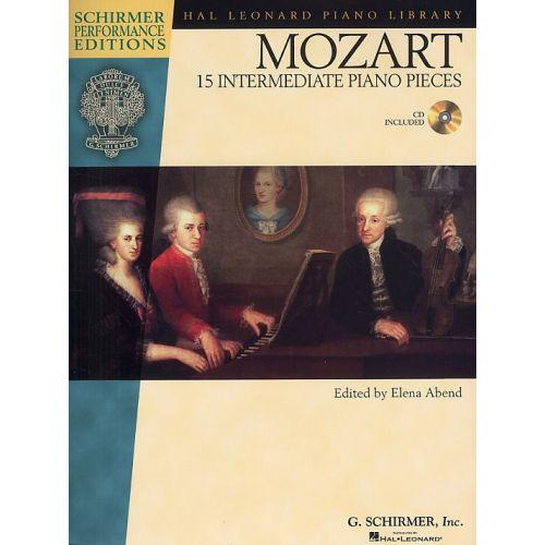 HAL LEONARD W.A. MOZART 15 INTERMEDIATE PIANO PIECES + CD - PIANO SOLO
