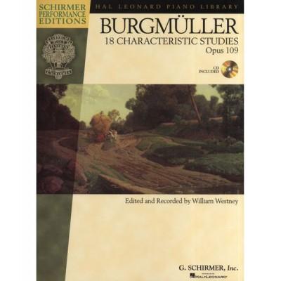 SCHIRMER SCHIRMER PERF EDS BURGMULLER 18 CHARACTERISTIC STUDIES OP.109 + MP3 - PIANO SOLO