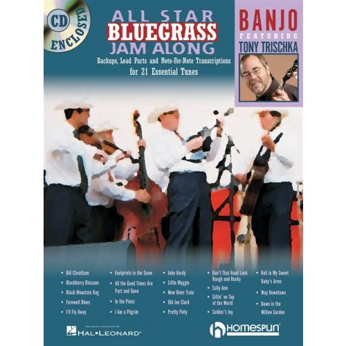 HAL LEONARD ALL STAR BLUEGRASS JAM ALONG BANJO + CD - BANJO