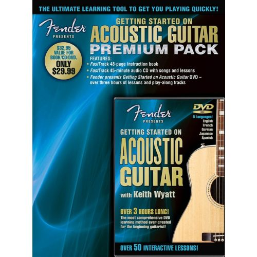 HAL LEONARD FENDER PRESENTS GETTING STARTED ON ACOUSTIC GUITAR A+ CD/DVD - ACOUSTIC GUITAR