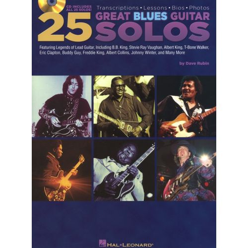 HAL LEONARD 25 GREAT BLUES GUITAR SOLOS WITH TAB GUITAR + CD - GUITAR TAB