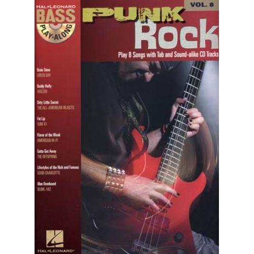 HAL LEONARD BASS PLAY ALONG VOL.8 - PUNK ROCK + CD - BASS TAB