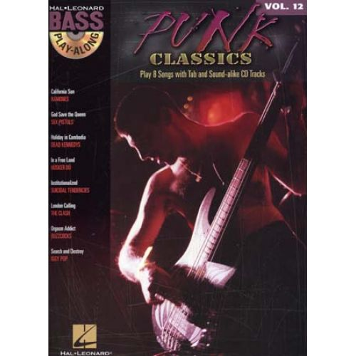 HAL LEONARD BASS PLAY ALONG VOL.12 - PUNK CLASSICS + CD - BASSE TAB