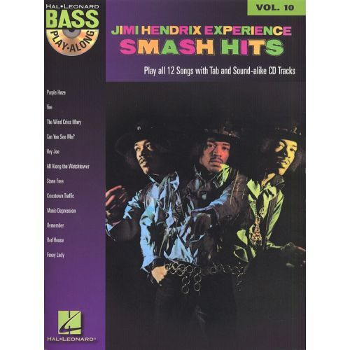 HAL LEONARD HENDRIX JIMI - BASS PLAY ALONG VOL.10 - SMASH HITS + CD - BASS TAB