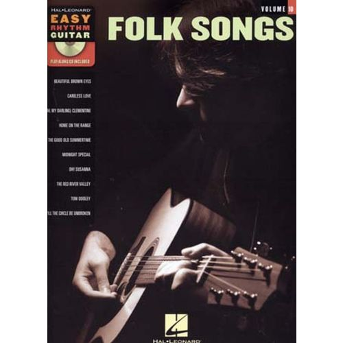 HAL LEONARD EASY RHYTHM GUITAR VOL.10 FOLK SONGS + CD