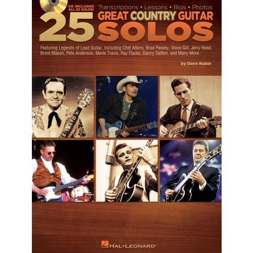 HAL LEONARD DAVE RUBIN - 25 GREAT COUNTRY GUITAR SOLOS - GUITAR