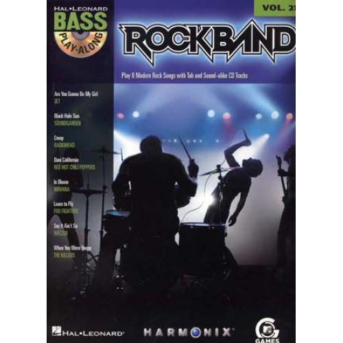 HAL LEONARD BASS PLAY ALONG VOL.21 - ROCKBAND + CD - BASSE