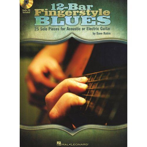 HAL LEONARD RUBIN DAVE 12-BAR FINGERSTYLE BLUES + CD - GUITAR TAB