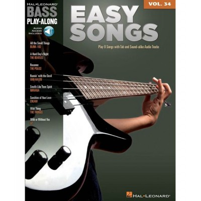HAL LEONARD BASS PLAY ALONG VOLUME 34 EASY SONGS B+ MP3 - BASS GUITAR TAB
