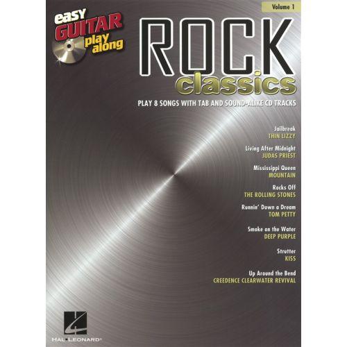 HAL LEONARD EASY GUITAR PLAY ALONG VOLUME 1 ROCK CLASSICS TAB + CD - GUITAR