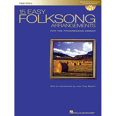 HAL LEONARD 15 EASY FOLKSONG ARRANGEMENTS FOR HIGH VOICE + MP3 - PIANO SOLO