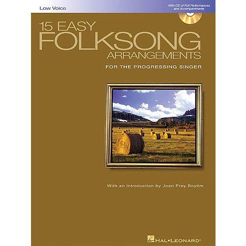 HAL LEONARD 15 EASY FOLKSONG ARRANGEMENTS FOR LOW VOICE + CD - VOICE