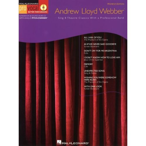 HAL LEONARD PRO VOCAL ANDREW LLOYD WEBBER FEMALE SINGERS + CD - MELODY LINE, LYRICS AND CHORDS
