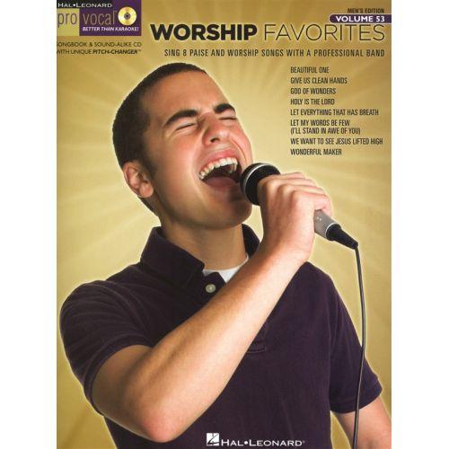 HAL LEONARD PRO VOCAL VOLUME 53 - MEN'S EDITION WORSHIP FAVORITES VOICE + CD - VOICE