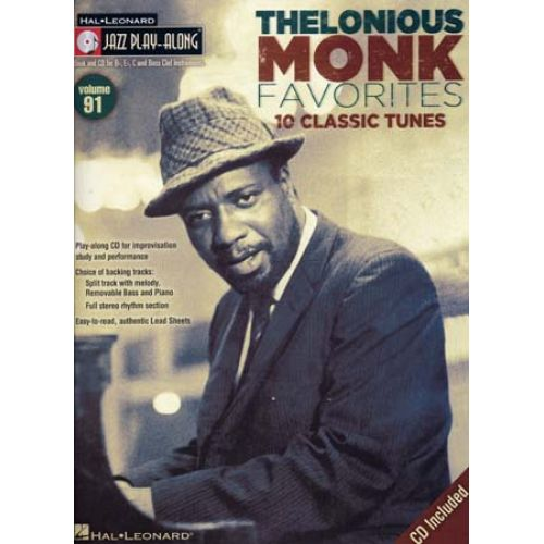 HAL LEONARD THELONIOUS MONK -JAZZ PLAY ALONG VOL.91 THELONIOUS MONK + CD - Bb, Eb, C INSTRUMENTS