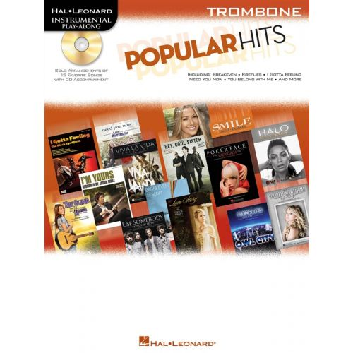 HAL LEONARD INSTRUMENTAL PLAY ALONG - POPULAR HITS + CD - TROMBONE