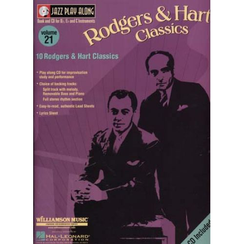 HAL LEONARD JAZZ PLAY ALONG VOL.21 RODGERS & HART BB, EB, C INST. CD