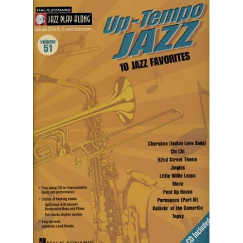 HAL LEONARD JAZZ PLAY ALONG VOL.51 - UP-TEMPO JAZZ - Bb, Eb, C INSTRUMENTS