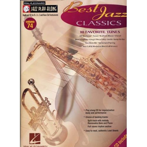 HAL LEONARD JAZZ PLAY ALONG VOL.74 - BEST JAZZ CLASSICS + CD - Bb, Eb, C INSTRUMENTS