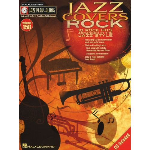 HAL LEONARD JAZZ PLAY ALONG VOLUME 158 JAZZ COVERS ROCK ALL INSTRUMENTS + CD - BASS CLEF INSTRUMENTS