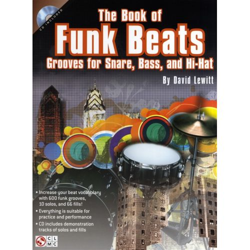 CHERRY LANE DAVID LEWITT THE BOOK OF FUNK BEATS DRUMS + CD - DRUMS