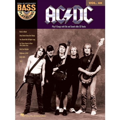 HAL LEONARD BASS PLAYALONG VOLUME 40 - AC/DC + CD - BASS GUITAR TAB